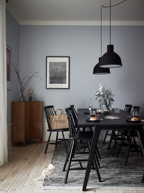 light blue decor dining room