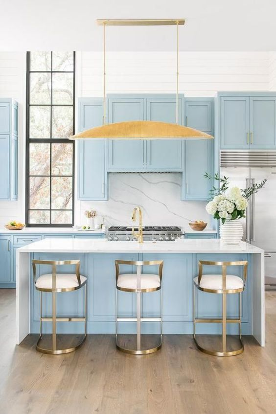 light blue decor kitchen